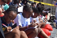 A group of girls participate in the organization Mighty Writers' attempt to break a Guinness World Record during July. | THE TEMPLE NEWS