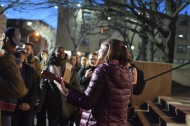 """Heather Birmingham sings a rendition of """"This Little Light of Mine"""" at Temple Theaters' Ghostlight Project the night before President Donald Trump was inaugurated.   THE TEMPLE NEWS"""